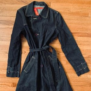 BCBG Dark Denim Trench Coat with Waist Tie